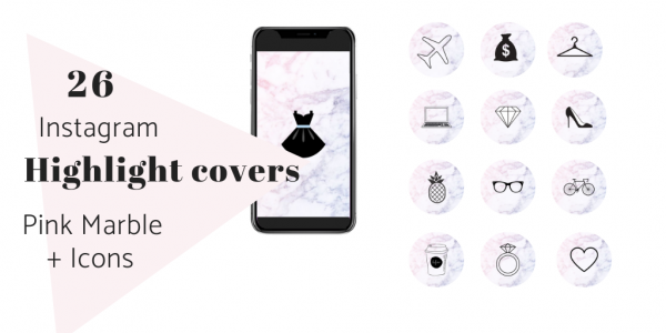 26 Instagram Story Highlights Pink Marble Icons Cover