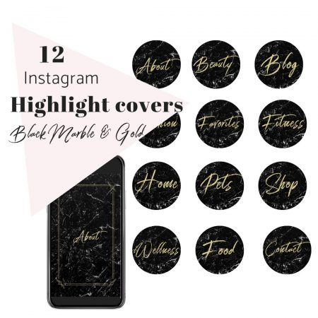 12 IG Story Highlight Covers Black Marble and Gold