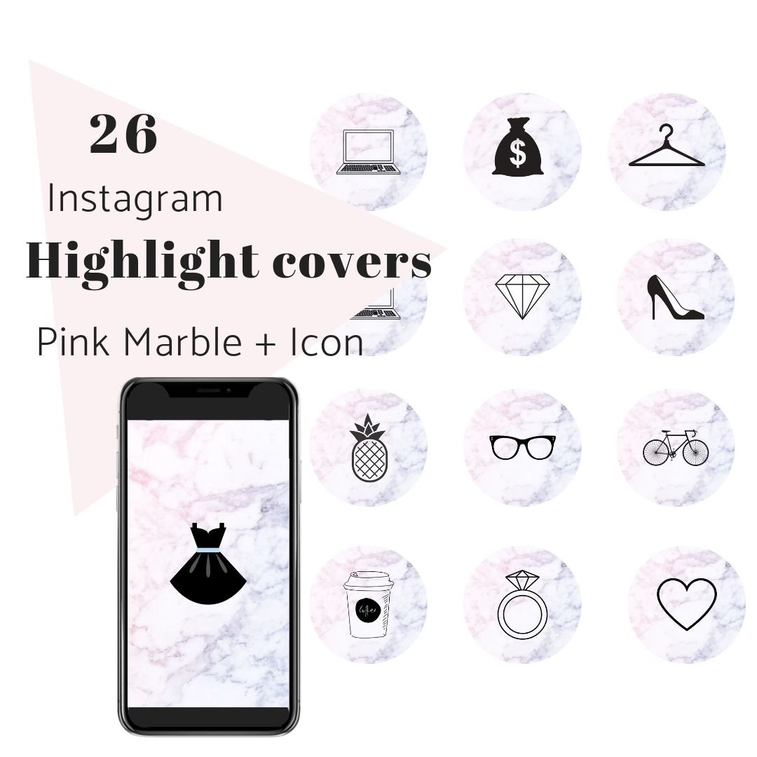 26 Ig Story Highlight Covers Pink Marble Radianstar