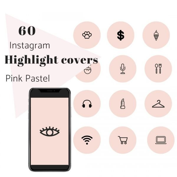 60 Instagram Story Highlights Pink Pastel Icons Square
