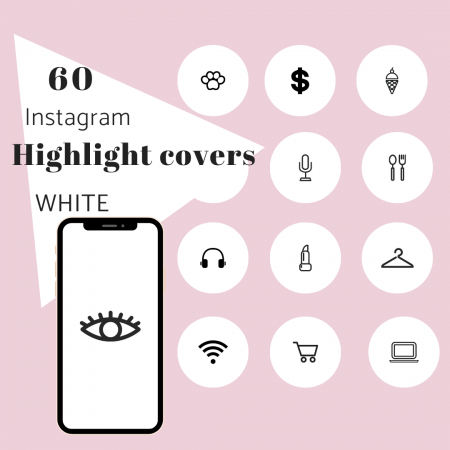 60 IG Story Highlight Covers White