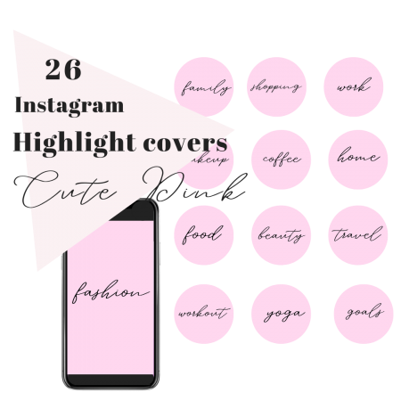 26 IG Story Highlight Covers Stylish Text Cute Pink