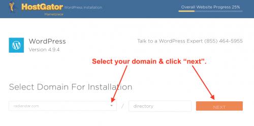 Hostgator WordPress install quickinstall