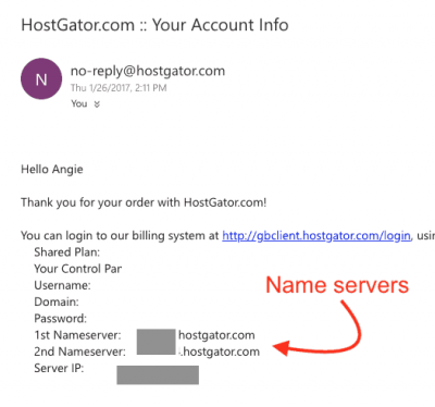 hostgator welcome email nameservers